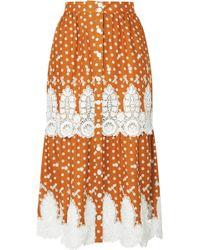 Miguelina - Carolina Crocheted Polka-dot Cotton Midi Skirt - Lyst