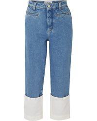 Loewe - Fisherman Cotton Poplin-paneled Cropped Boyfriend Jeans - Lyst