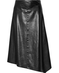 Victor Alfaro - - Asymmetric Faux Leather Midi Skirt - Black - Lyst