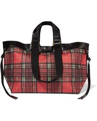 Isabel Marant - Wardy Leather-trimmed Tartan Coated-canvas Tote - Lyst