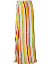 J.Crew - Collection Striped Sequined Silk-georgette Maxi Skirt - Lyst
