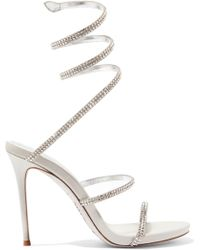 669d2a86bebf52 Rene Caovilla - Cleo Crystal-embellished Metallic Leather Sandals - Lyst