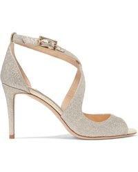 Jimmy Choo - Emily 85 Glittered Leather Sandals - Lyst