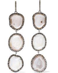 Kimberly Mcdonald - 18-karat Blackened White Gold, Geode And Diamond Earrings - Lyst