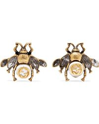 Gucci - Burnished Gold-tone, Faux Pearl And Crystal Earrings - Lyst