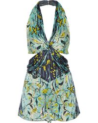 Anna Sui | Cutout Printed Silk-crepon Playsuit | Lyst