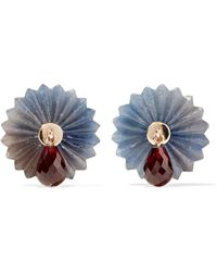 Alice Cicolini - Summer Snow 9-karat Gold, Sapphire And Garnet Earrings - Lyst