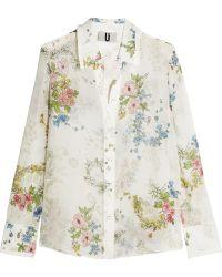 Topshop Unique - Hambledon Floral-print Silk-georgette Shirt - Lyst