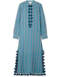 Figue - Paolina Tasselled Striped Cotton-blend Voile Midi Dress - Lyst