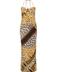 Versace - Chain-trimmed Printed Satin Gown - Lyst