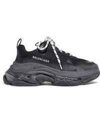 Balenciaga - Triple S Clear Sole Logo-embroidered Leather, Nubuck And Mesh Sneakers - Lyst