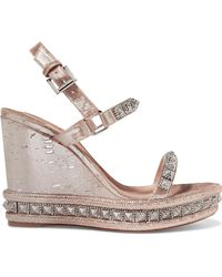 9cfc5432cc6 Christian Louboutin Rondaclou 60 Studded Leather Wedge Sandals - Lyst