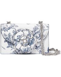 Oscar de la Renta - Tro Floral-print Textured-leather Shoulder Bag - Lyst