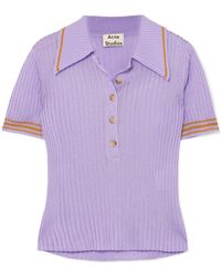 Acne Studios - Shanita Ribbed-knit Polo Shirt - Lyst