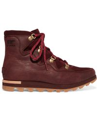 Sorel - Sneakchic Alpine Suede And Leather Ankle Boots - Lyst