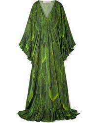 b8f04cbda6 Naeem Khan - Draped Printed Silk-charmeuse Gown - Lyst