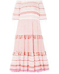 lemlem - Tiki Off-the-shoulder Embroidered Cotton-blend Gauze Midi Dress - Lyst
