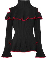 Alexander McQueen - Ruffled Ribbed Wool And Cashmere-blend Jumper - Lyst
