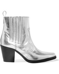 Ganni | Callie Metallic Leather Ankle Boots | Lyst