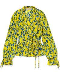 4bde20fa92c694 Preen Line - Taia Ruffled Floral-print Crepe Wrap Blouse - Lyst