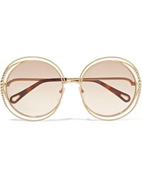 3851bde581f Lyst - Chloé Isidora Round-frame Gold-tone Sunglasses in Metallic