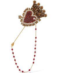 Dolce & Gabbana - Broche En Plaqué Or à Cristaux - Lyst