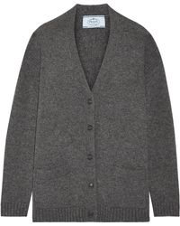 Prada | Suede-trimmed Wool And Cashmere-blend Cardigan | Lyst