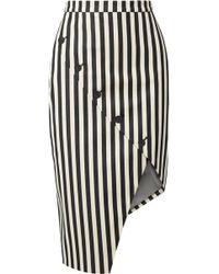 Altuzarra - Paul Bert Button-embellished Striped Stretch Cotton-twill Skirt - Lyst