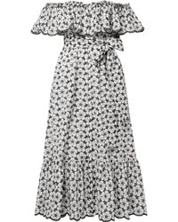 Lisa Marie Fernandez - Mira Off-the-shoulder Broderie Anglaise Cotton Midi Dress - Lyst
