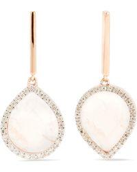 Monica Vinader - Naida Lotus Rose Gold Vermeil, Quartz And Diamond Earrings - Lyst