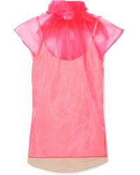 Prada - Bow-embellished Neon Silk-organza Top - Lyst