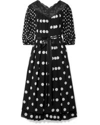 Marc Jacobs - Lace-trimmed Pleated Polka-dot Silk Crepe De Chine Midi Dress - Lyst