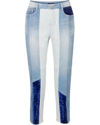 SJYP - Cropped Velvet-paneled High-rise Slim-leg Jeans - Lyst