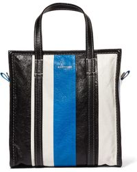 Balenciaga - Bazar Small Striped Textured-leather Tote - Lyst