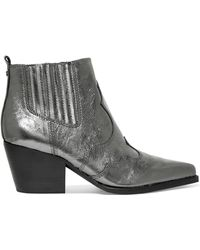 Sam Edelman - Winona Metallic Textured-leather Ankle Boots - Lyst