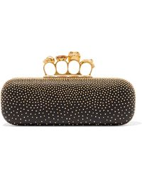 Alexander McQueen - Knuckle Embellished Leather Clutch - Lyst