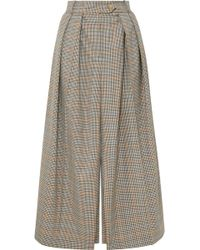 Awake - Pleated Checked Wool Skirt - Lyst