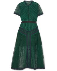 fa6373b4abe0d Self-Portrait - Guipure Lace Midi Dress - Lyst