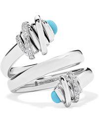 De Grisogono - Toi & Moi 18-karat White Gold, Diamond And Turquoise Ring White Gold 7 - Lyst