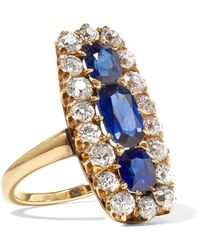 Fred Leighton - 1896 18-karat Gold, Sapphire And Diamond Ring - Lyst