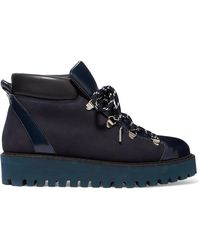 Ganni - Alma Glossed-leather And Suede Platform Ankle Boots - Lyst