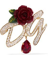 Dolce & Gabbana - Gold-plated, Enamel And Crystal Brooch - Lyst