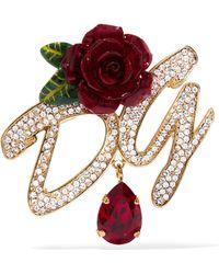 Dolce & Gabbana - Vergoldete Brosche Mit Emaille Und Kristallen - Lyst