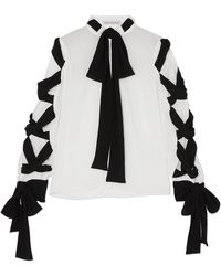 Emilia Wickstead - Fritz Tie-detailed Crinkled-crepe Blouse - Lyst