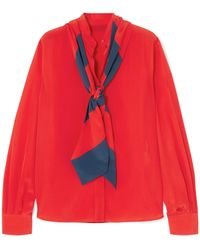 Givenchy - Pussy-bow Silk Crepe De Chine Blouse - Lyst