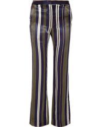 Paul & Joe - Striped Satin-twill Straight-leg Trousers - Lyst