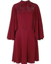 Giambattista Valli - Cape-effect Lace-paneled Crepe Dress - Lyst