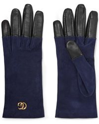 Gucci - Viola Suede And Leather Gloves - Lyst