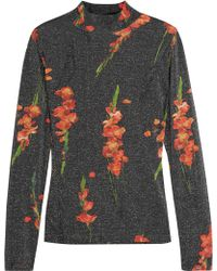 Topshop Unique - Sidgwick Floral-print Jersey And Lurex Top - Lyst