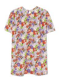 Prada - Pleated Floral-print Silk Crepe De Chine Top - Lyst